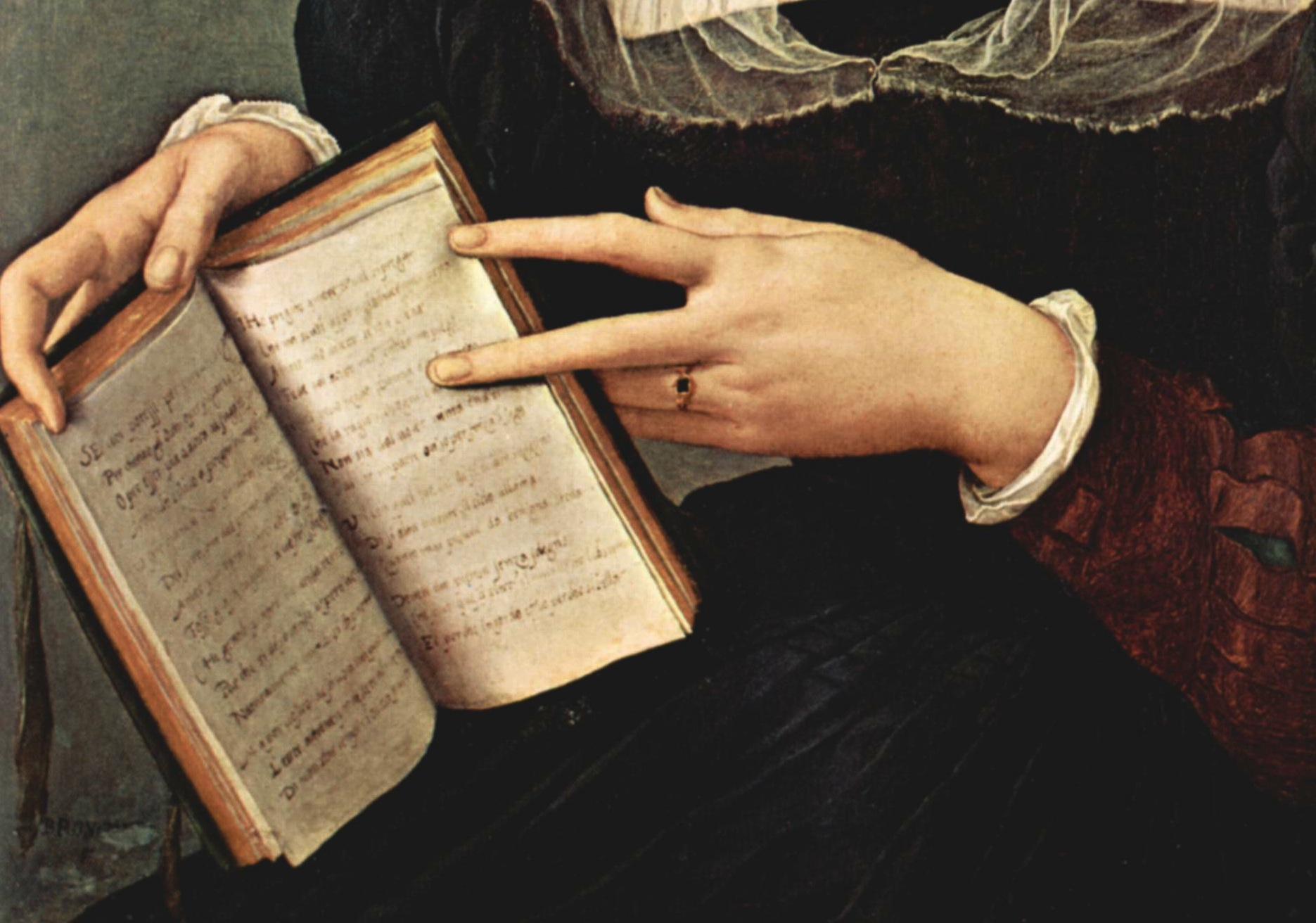 Bronzino book and hands