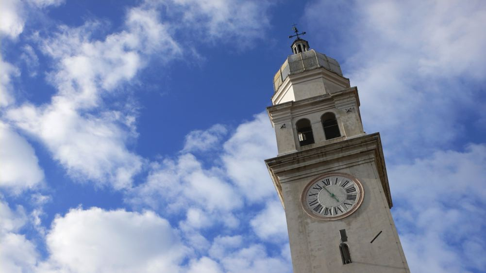 The bell tower of the church of Angelo Raffaele in Venice
